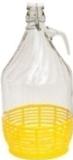 Demižon 5l, sklenený s uzáverom, s uchom, spodná časť ochránená plastovým obalom