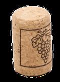 Korková zátka na fľaše, rovná, motívom hrozna