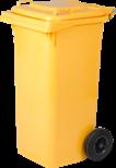 Nádoba na recyklačný odpad dvojkolečková, žltá 120L