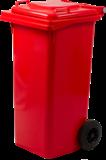 Nádoba na recyklačný odpad dvojkolečková, červená 120L
